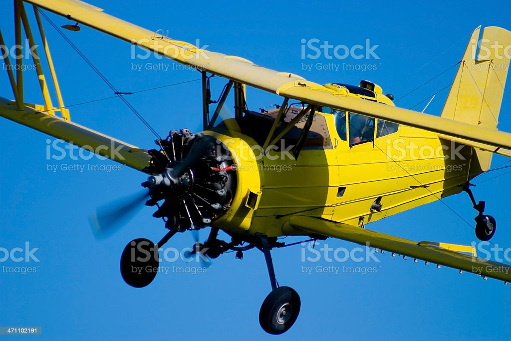 Closeup of a Biplane Cropduster royalty-free stock photo