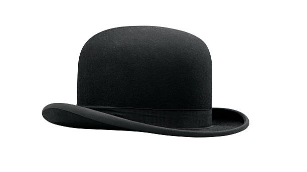 Close-up of a black bowler hat stock photo