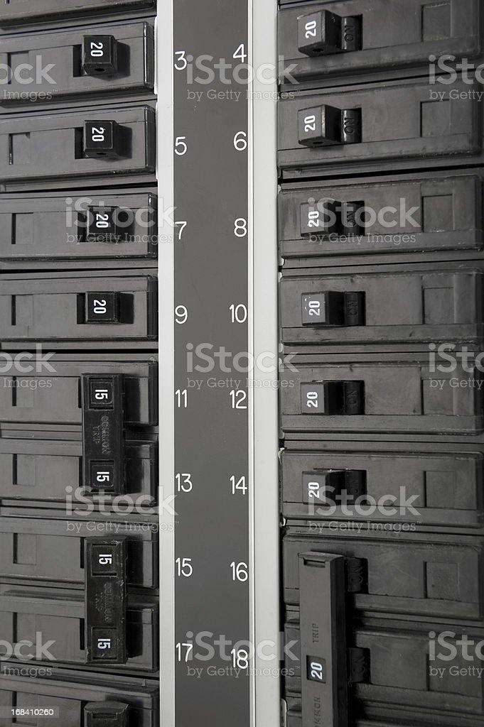 A close-up of a black fuse box stock photo