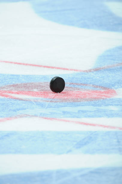 Closeup of a black ice hockey puck standing on the ice in the face off circle stock photo