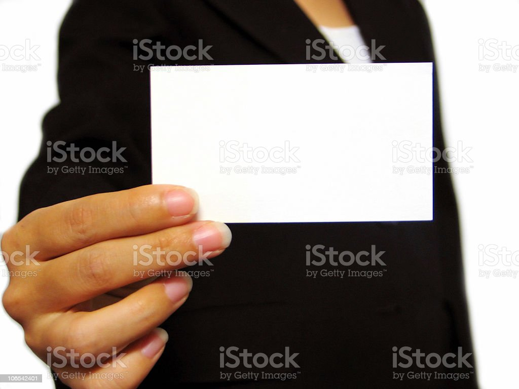 A close-up of a blank business card royalty-free stock photo