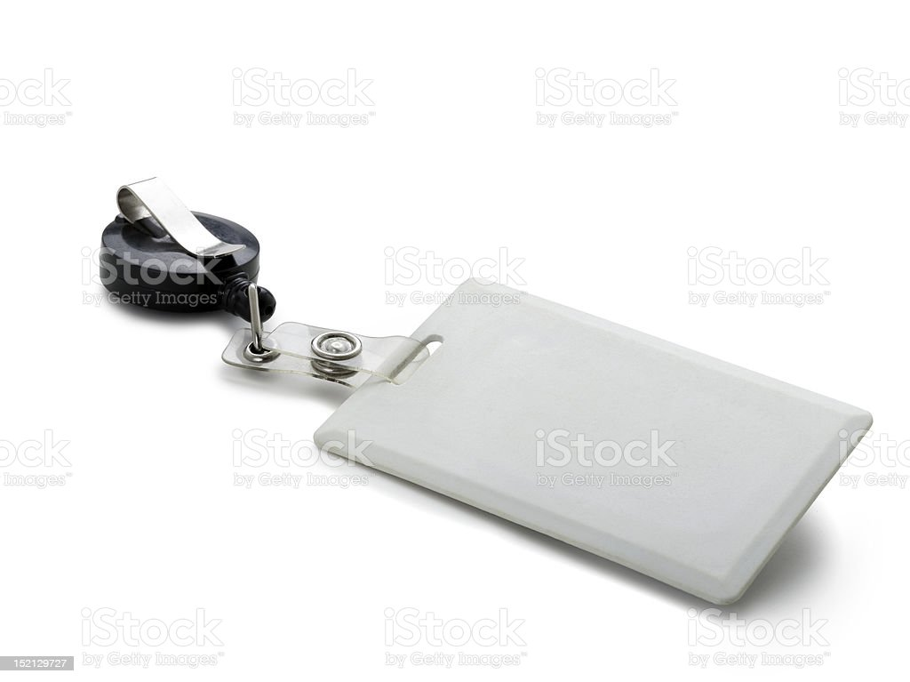 Close-up of a blank, white clip-on security pass royalty-free stock photo