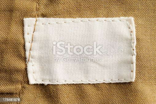 istock Close-up of a blank white clothing label 175481578