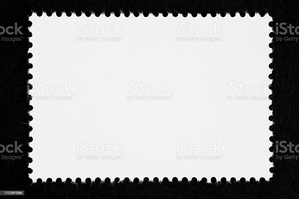 Close-up of a blank white stamp, isolated on black stock photo