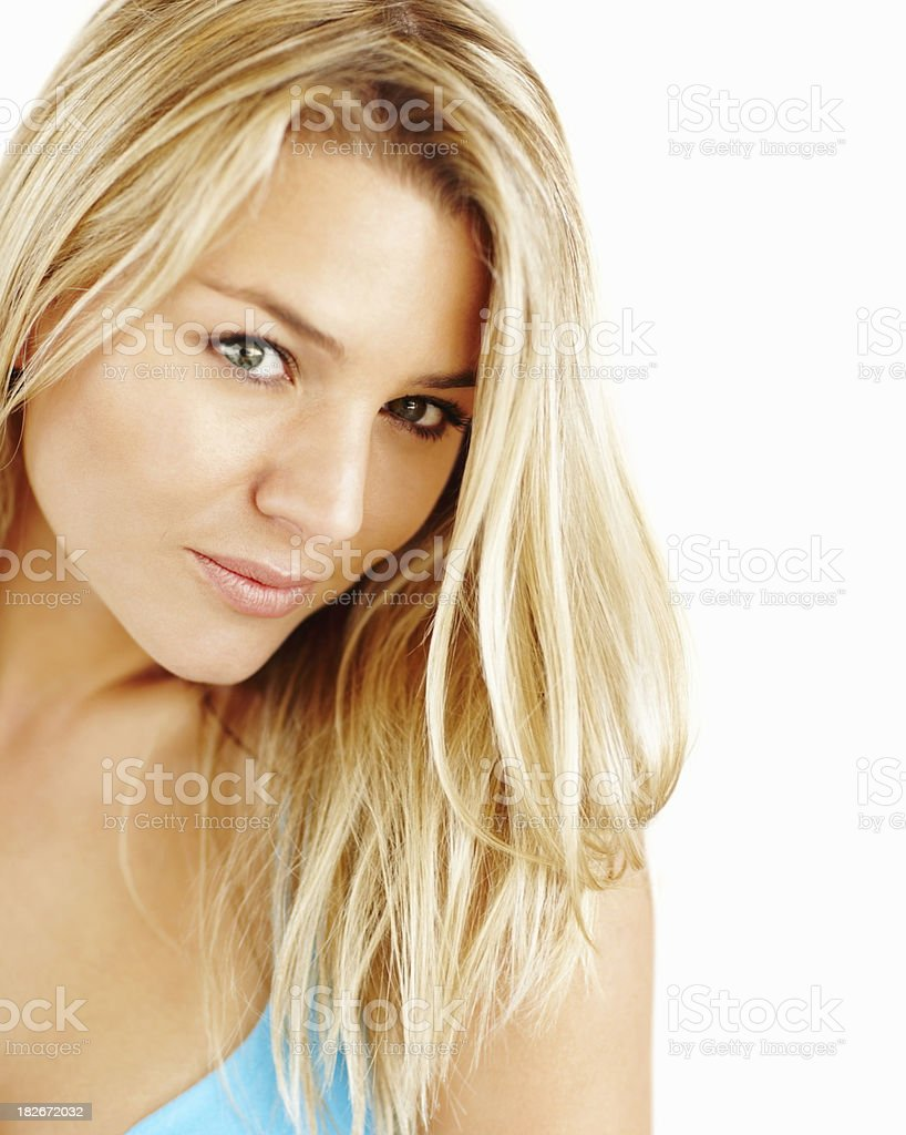 Closeup of a blond female isolated on white royalty-free stock photo