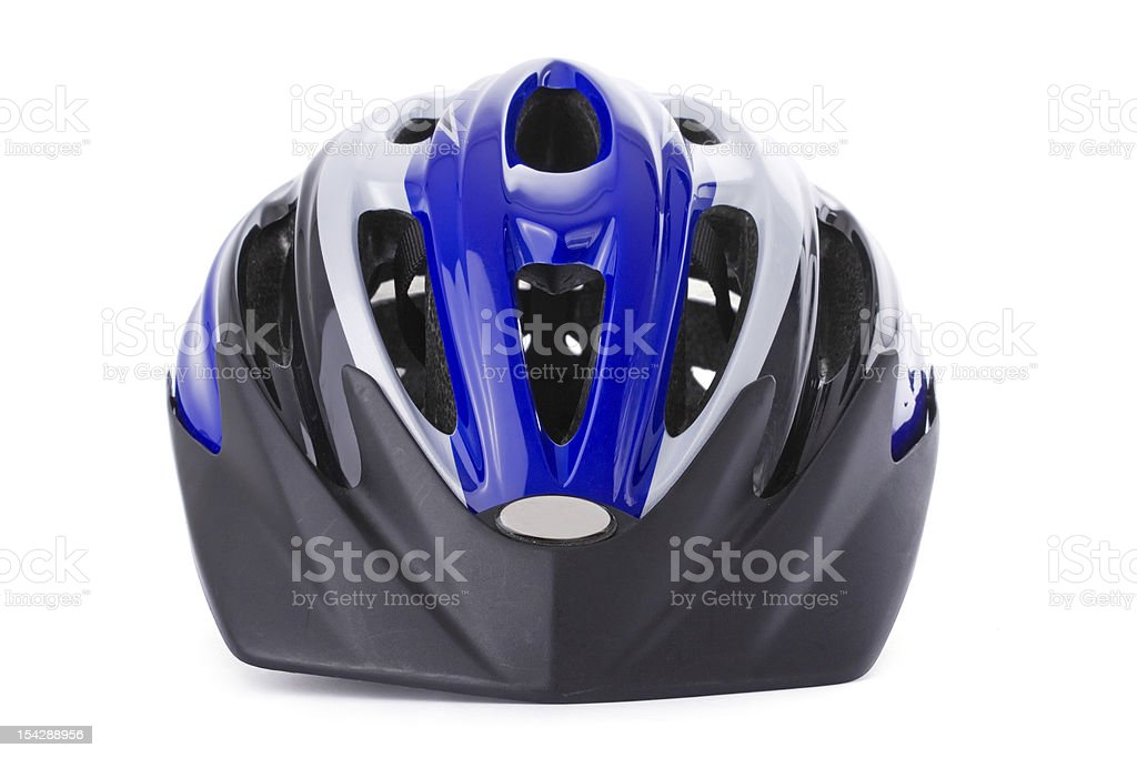 A close-up of a blue and silver bike helmet stock photo