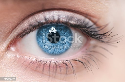istock A close-up of a blue female human eye 179209374