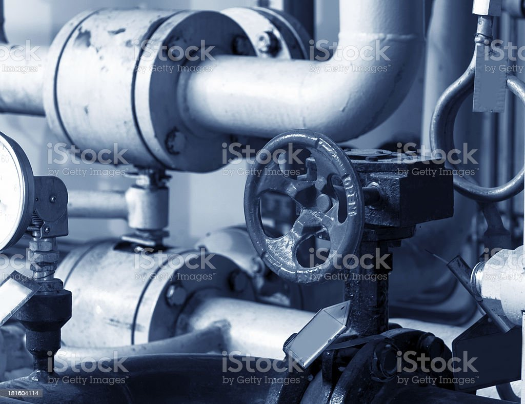Closeup of a boiler room stock photo