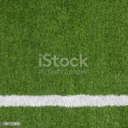 istock Close-up of a boundary line on a soccer field 185122903