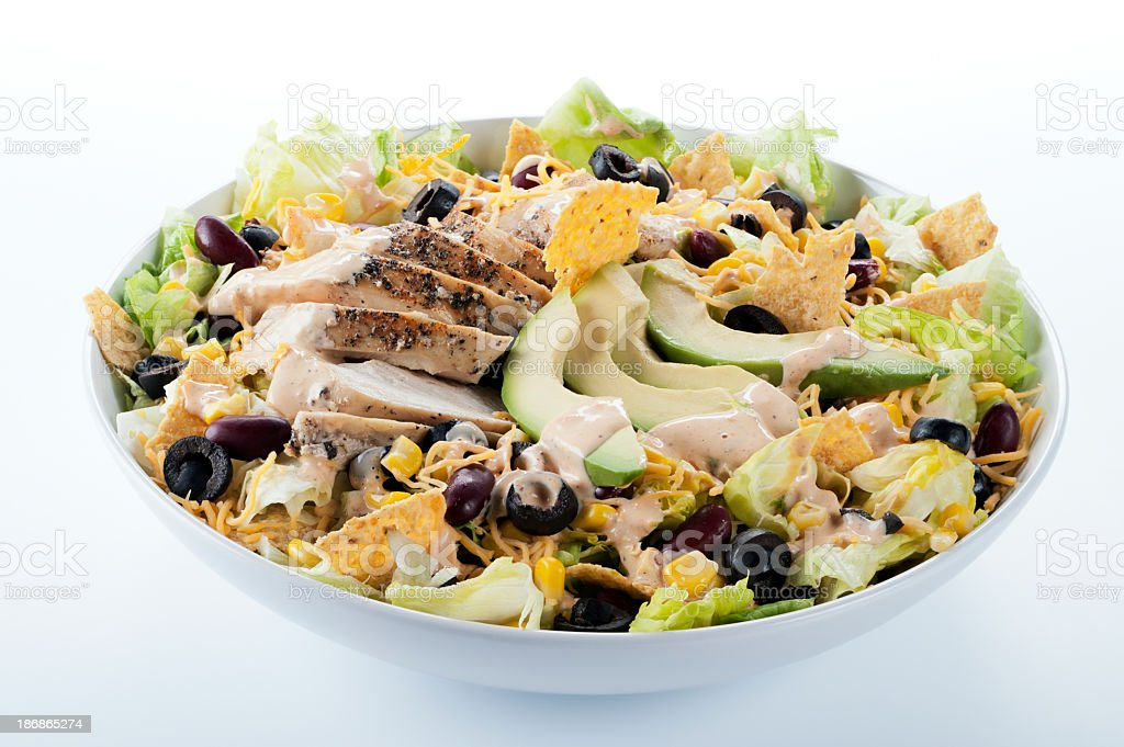 Close-up of a bowl filled with fiesta taco salad stock photo
