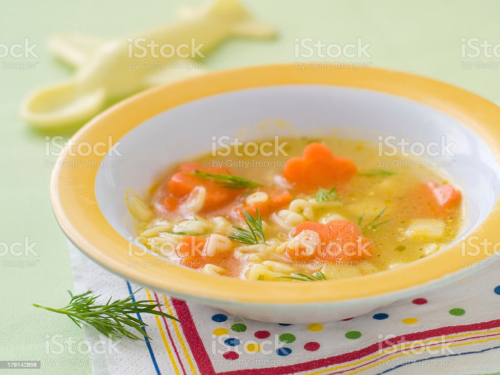 Close-up of a bowl of alphabet soup stock photo