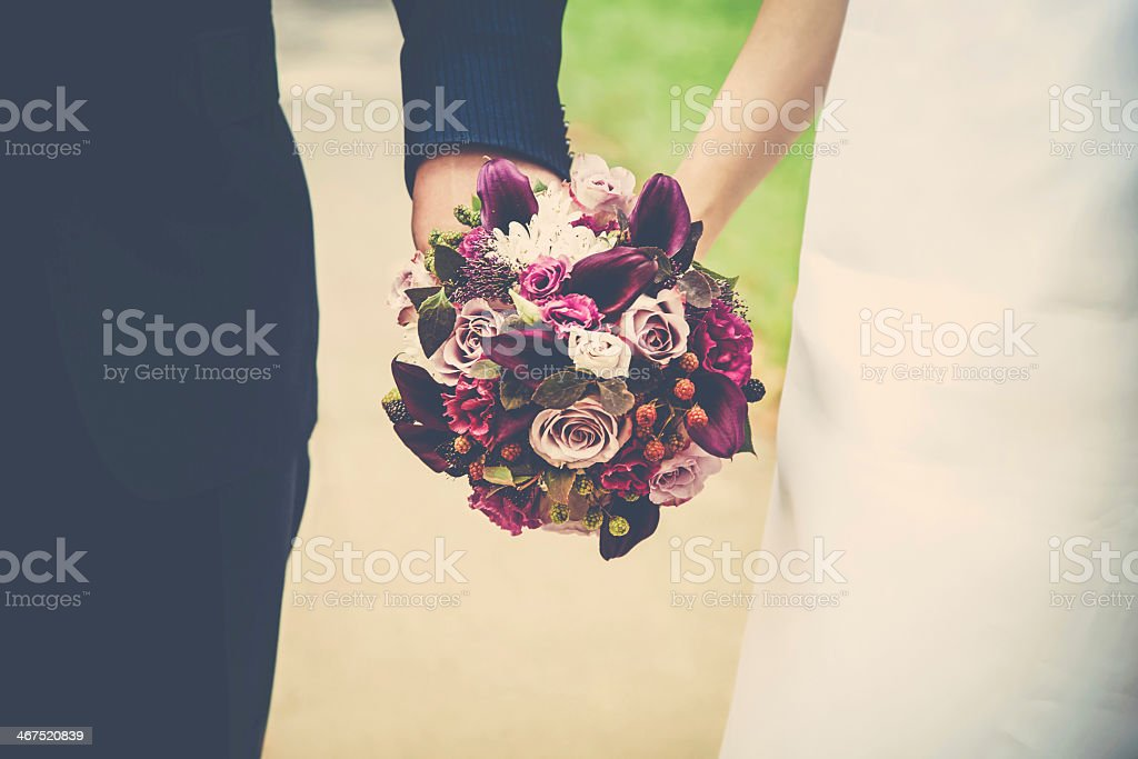 Close-up of a bridal bouquet at wedding day stock photo