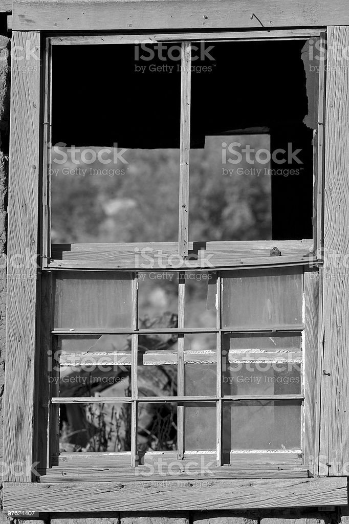 Closeup of a broken window royalty-free stock photo