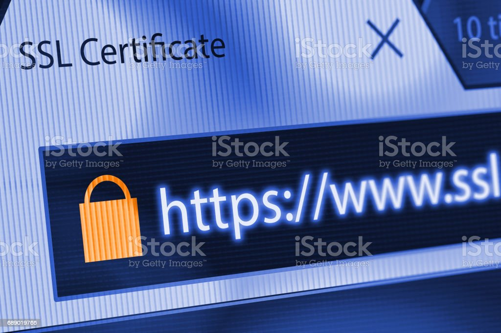 Close-up of a browser window showing lock icon during SSL connection stock photo