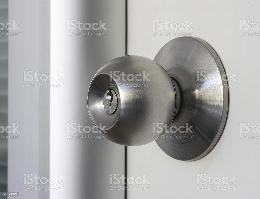Close-up of a brushed metal door knob stock photo