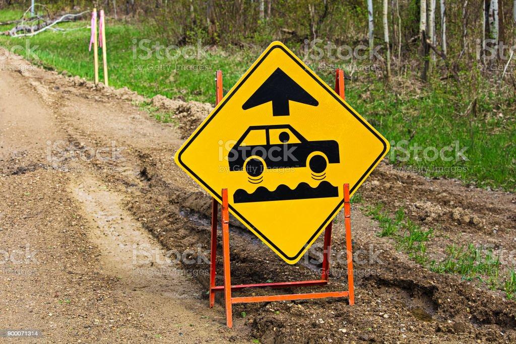Closeup of a bumpy road ahead sign royalty-free stock photo