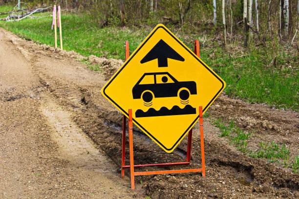 Closeup of a bumpy road ahead sign stock photo