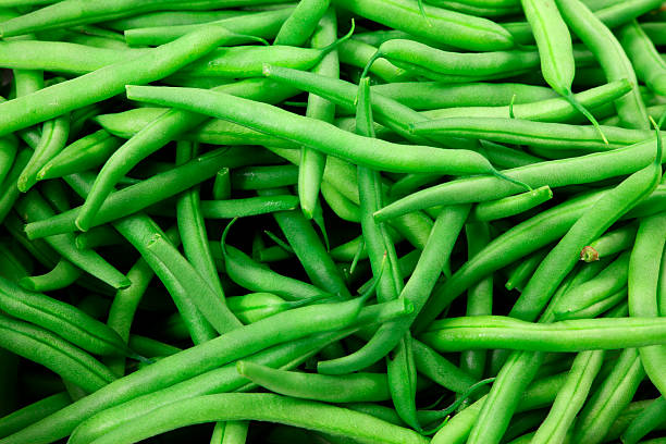 Close-up of a bunch of green beans stock photo
