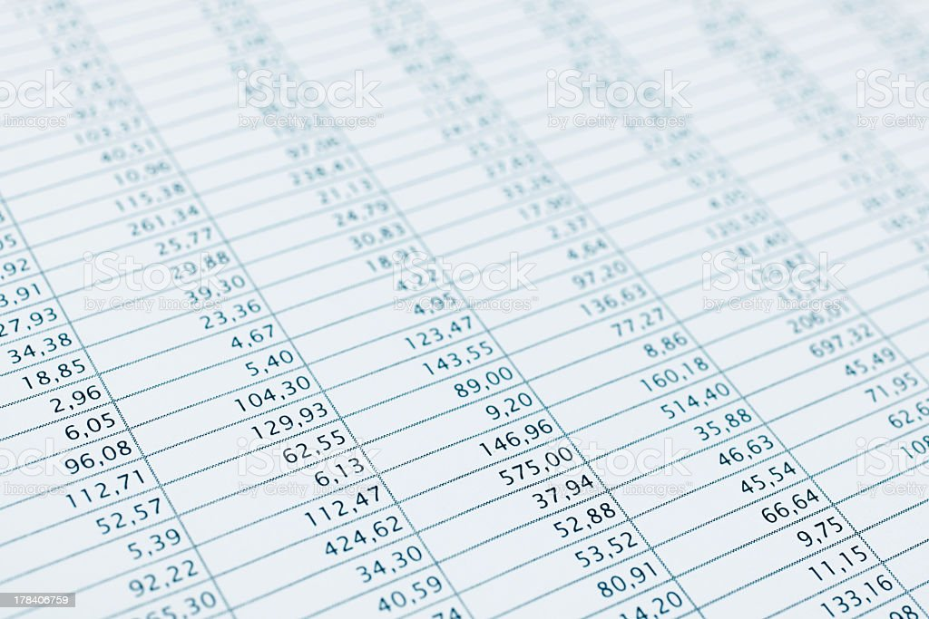 Close-up of a business data financial report print out stock photo