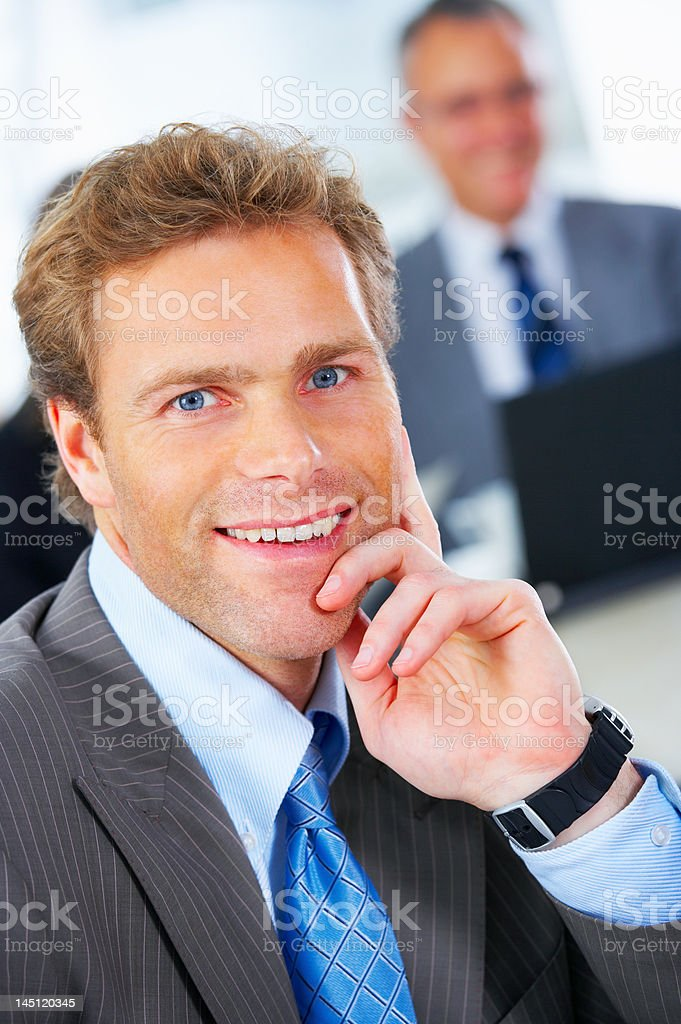 Close-up of a businessman smiling royalty-free stock photo