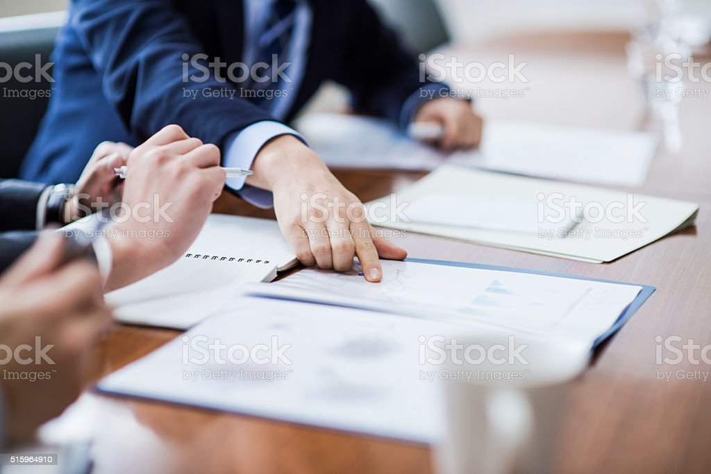 Close-up of a businessmans hand stock photo