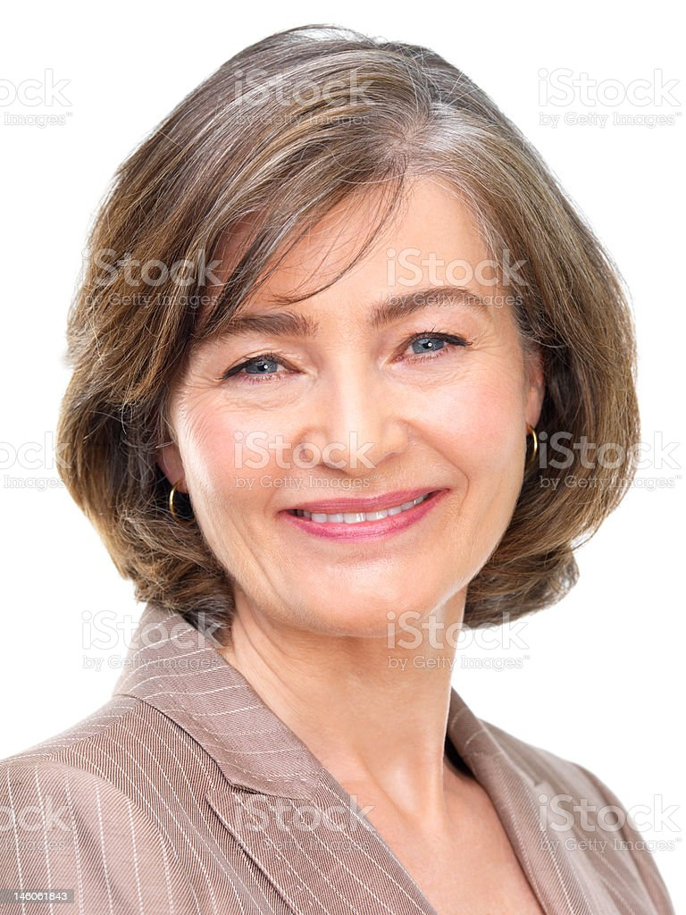 Close-up of a businesswoman smiling against white background royalty-free stock photo