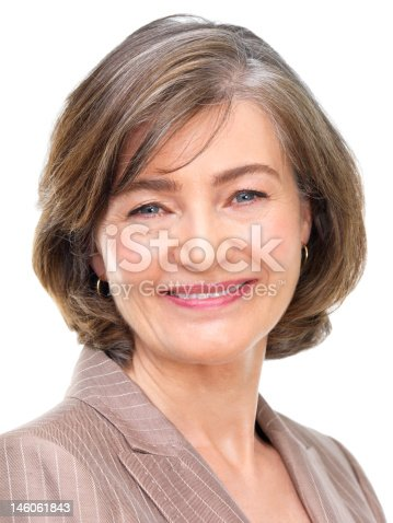 981750034istockphoto Close-up of a businesswoman smiling against white background 146061843