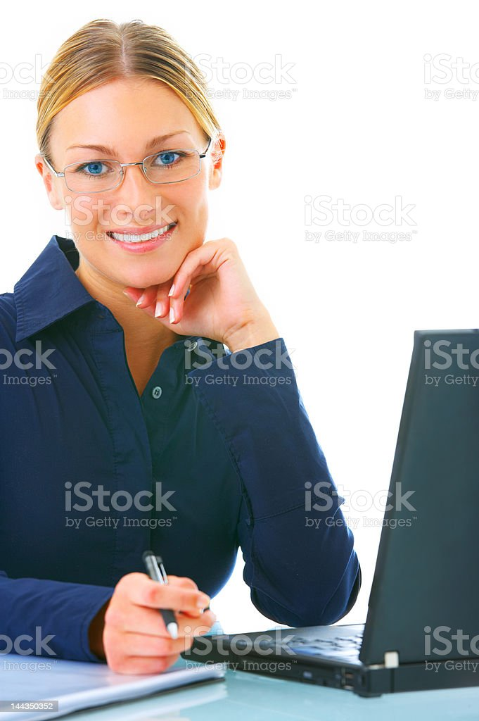 Close-up of a businesswoman working on laptop royalty-free stock photo