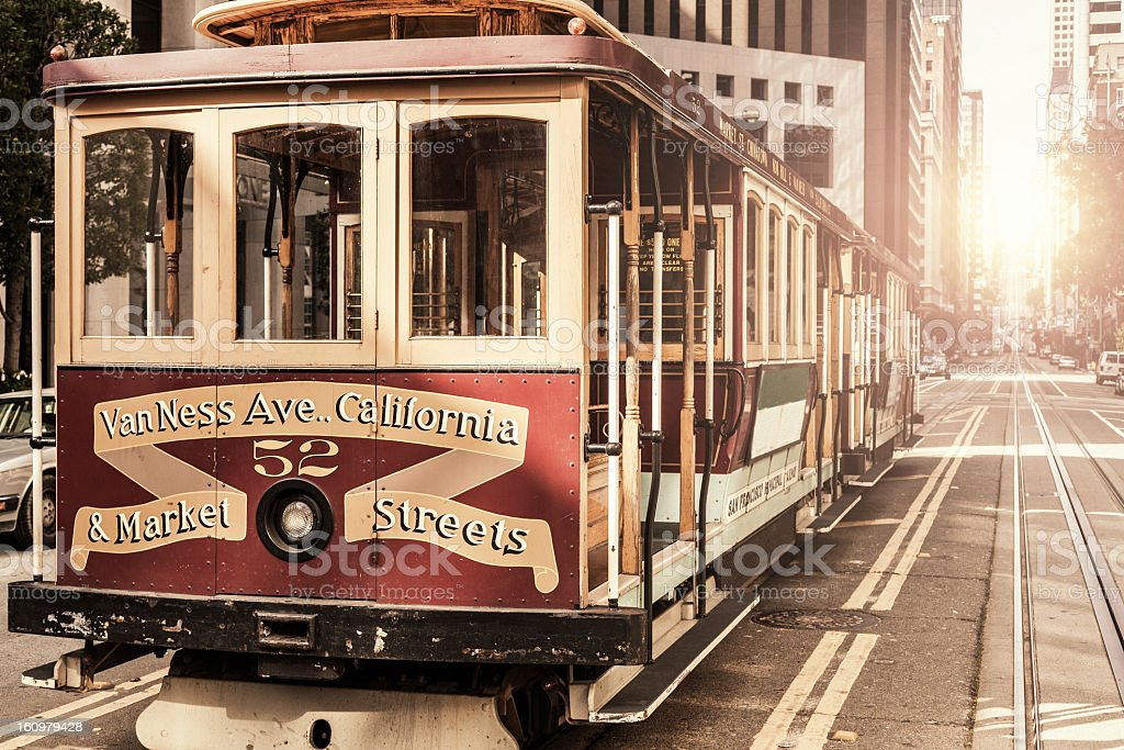 A close-up of a cable car in San Francisco stock photo