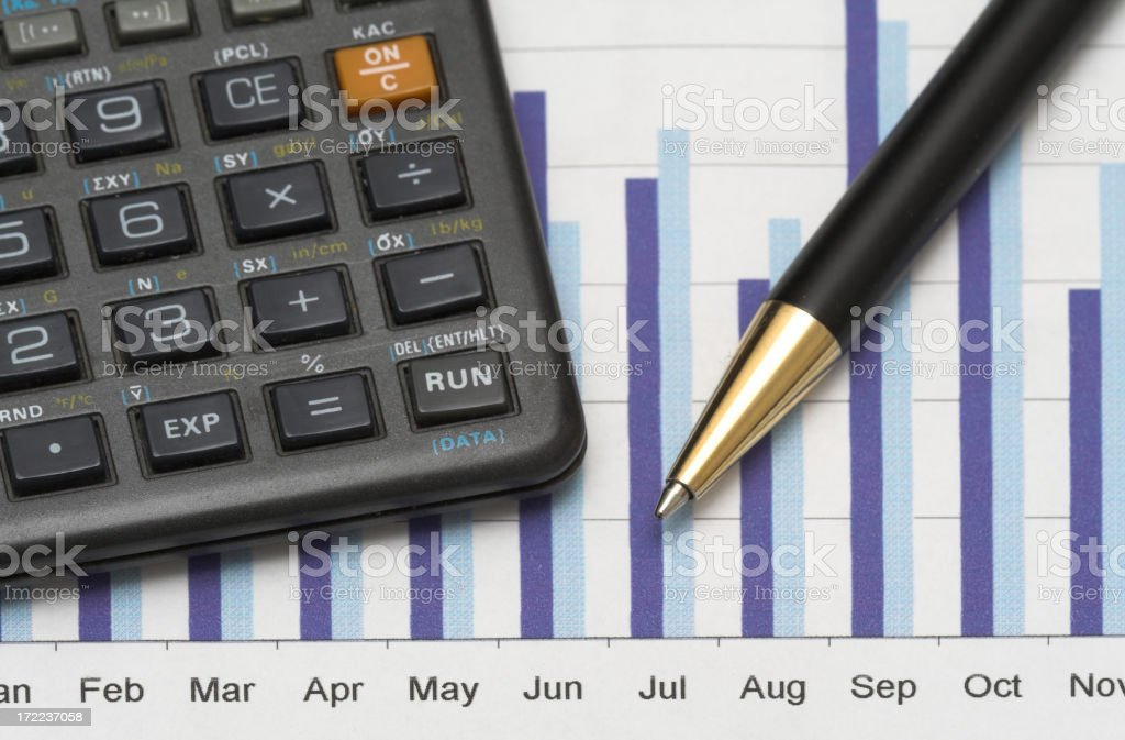 Closeup of a calculator, chart and pen royalty-free stock photo
