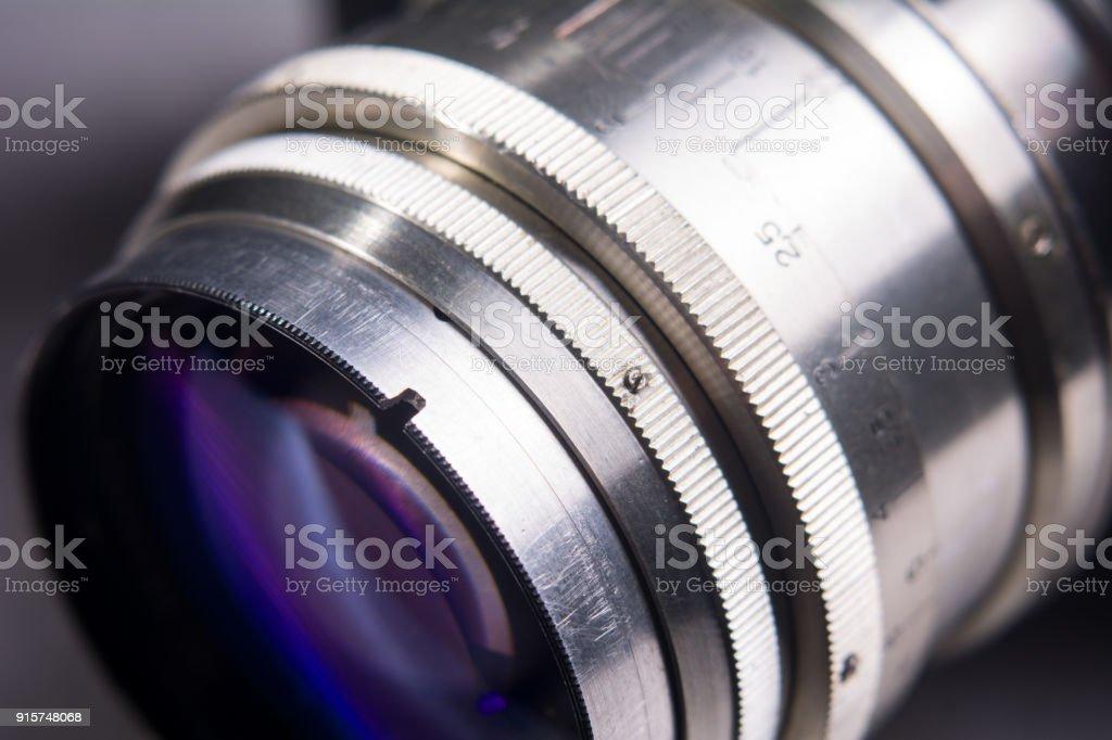 Close-up of a camera lens. stock photo