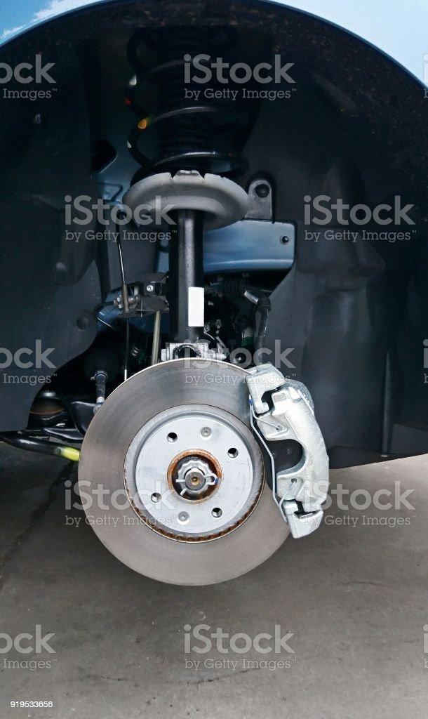 Close-up of a car disc brake stock photo
