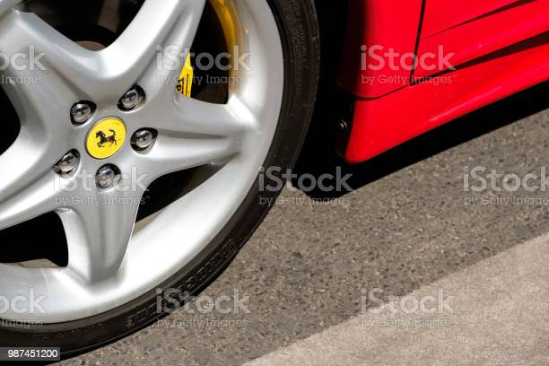 Closeup of a car tire with ferrari logo design brand name at oldtimer picture id987451200?b=1&k=6&m=987451200&s=612x612&h=fjukzzsj3gu2bxrmosqldyt xomkpsr  8dwohld6y0=