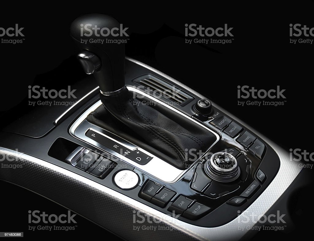 Close-up of a car's gear stick with multimedia console royalty-free stock photo