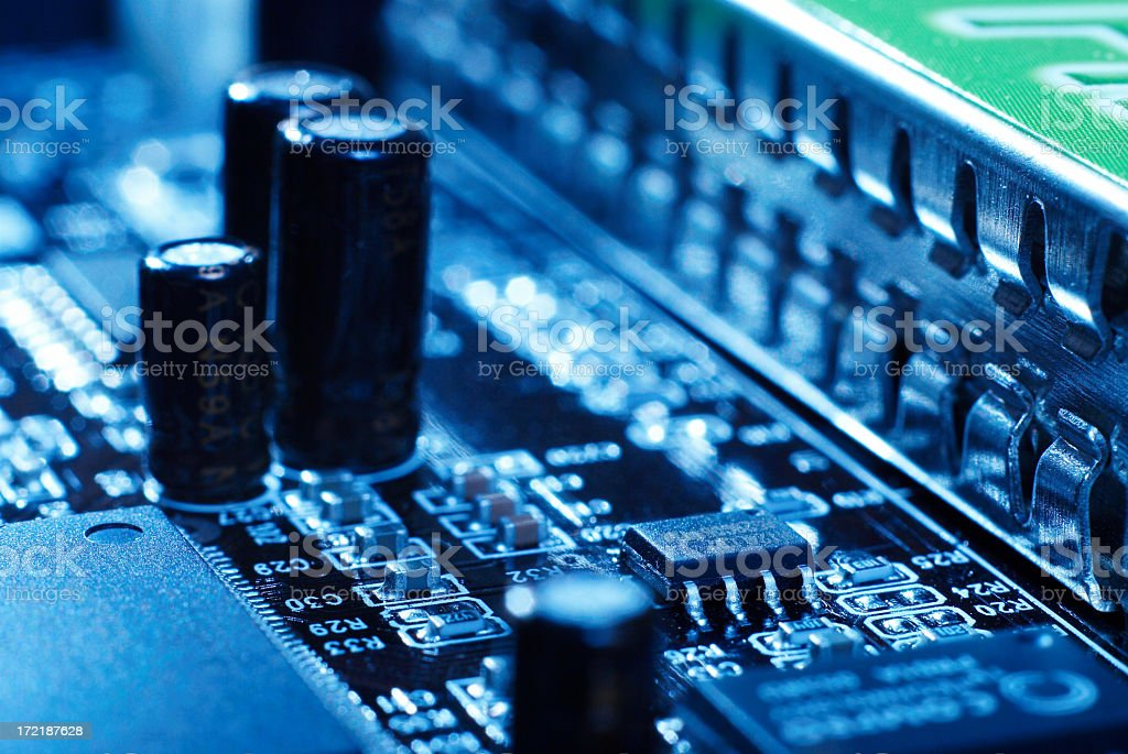 Close-up of a circuit board in blue royalty-free stock photo