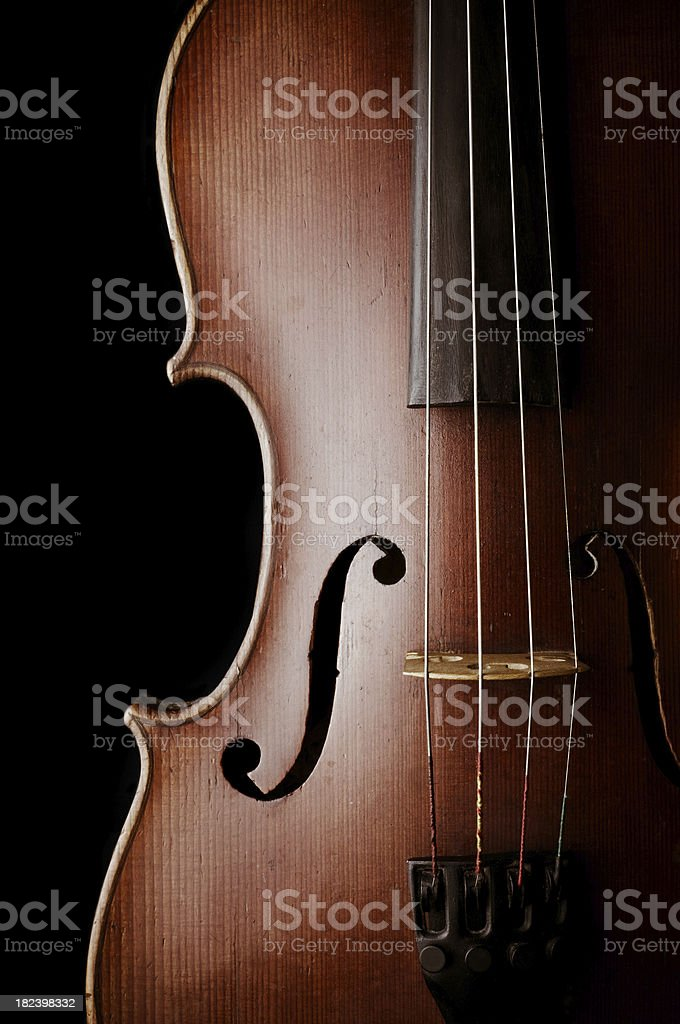 Close-up of a classic violin isolated on black background. stock photo