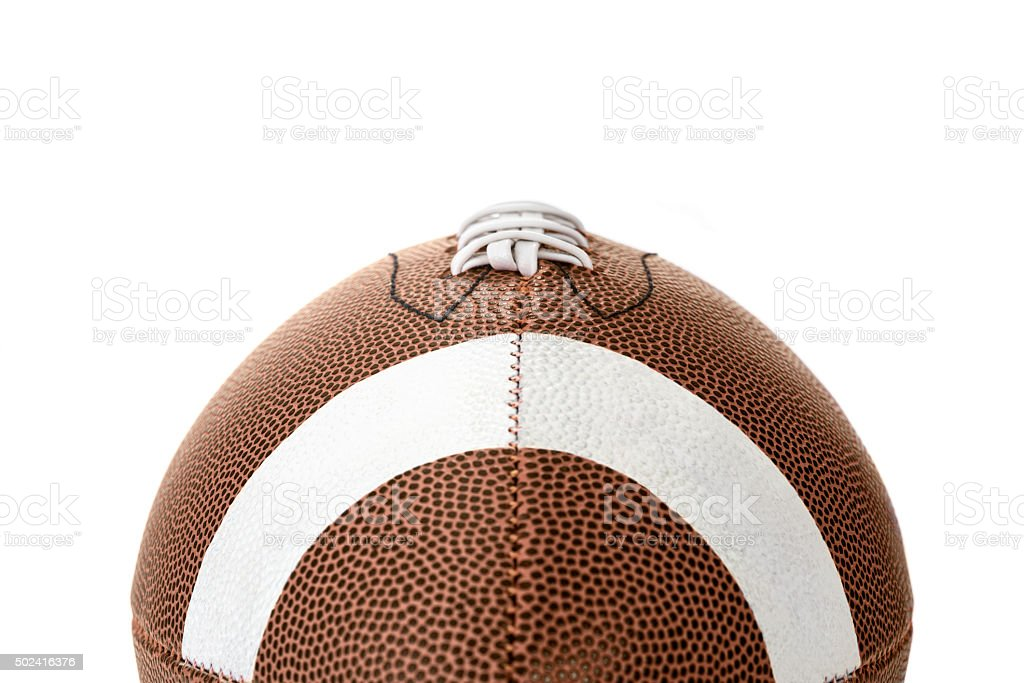Close-up of a College football sitting on a white background stock photo