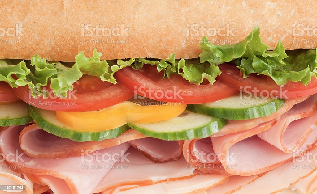 Closeup of a colorful deli sandwich royalty-free stock photo