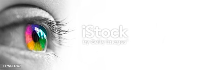 Close-up of a colorful rainbow eye header isolated on panoramic white background, colors vision concept