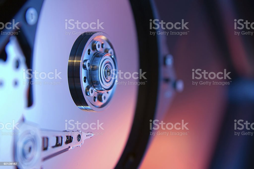 Close-up of a computer's internal hard disk drive stock photo