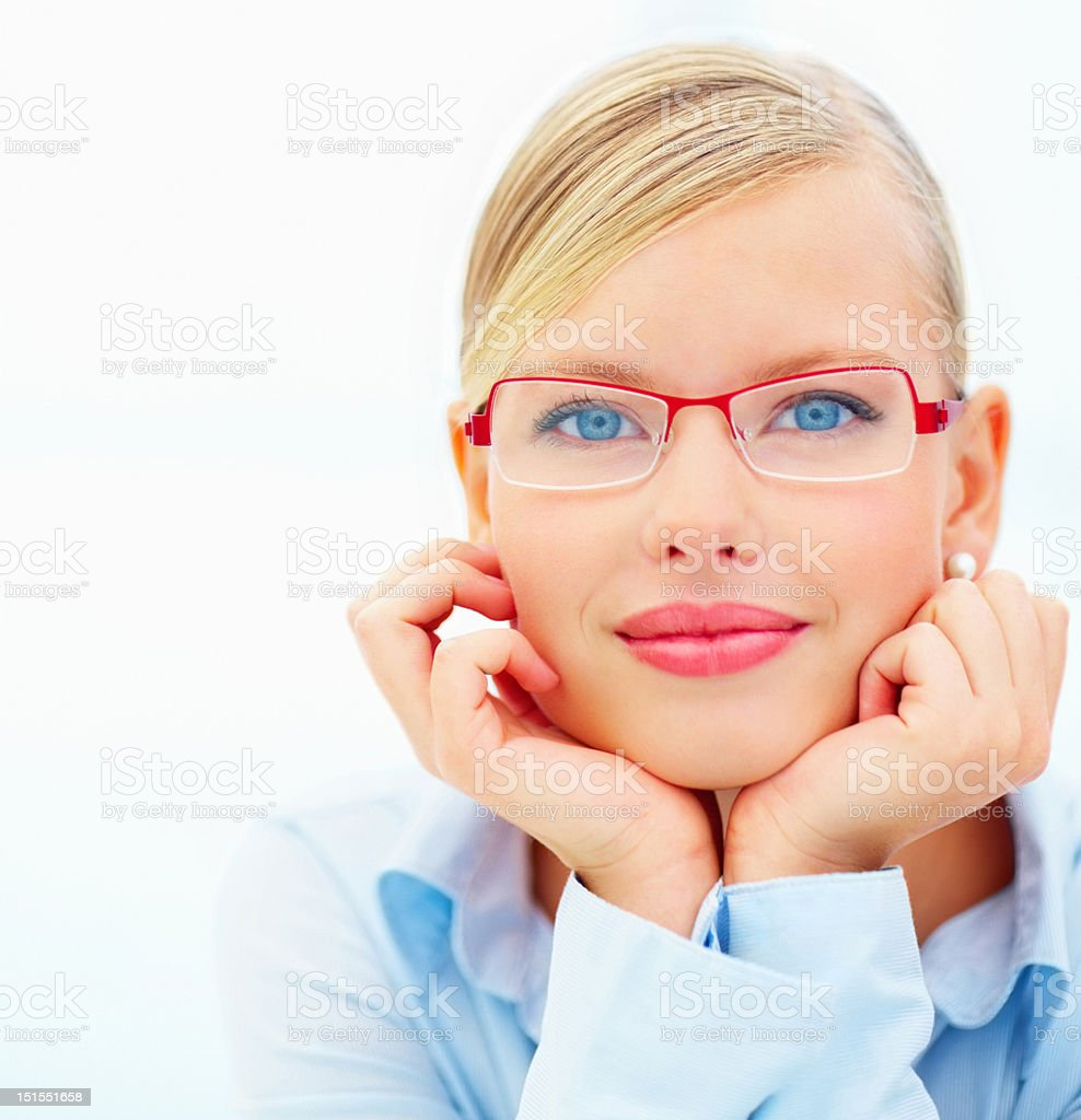 Close-up of a confident young businesswoman royalty-free stock photo