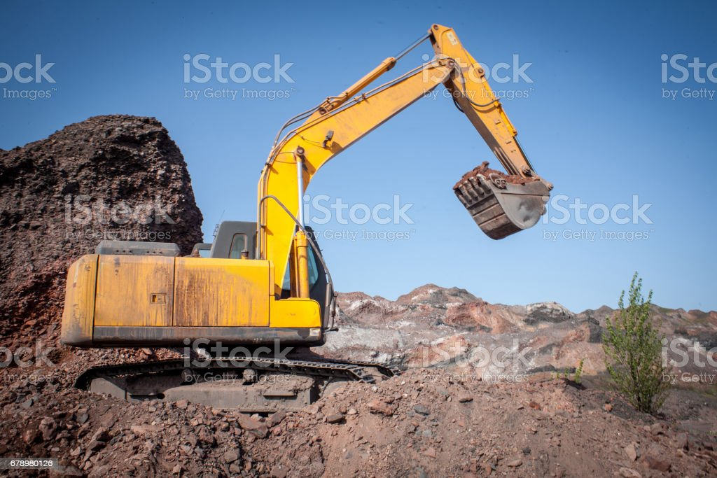 Close-up of a construction site excavator royalty-free stock photo