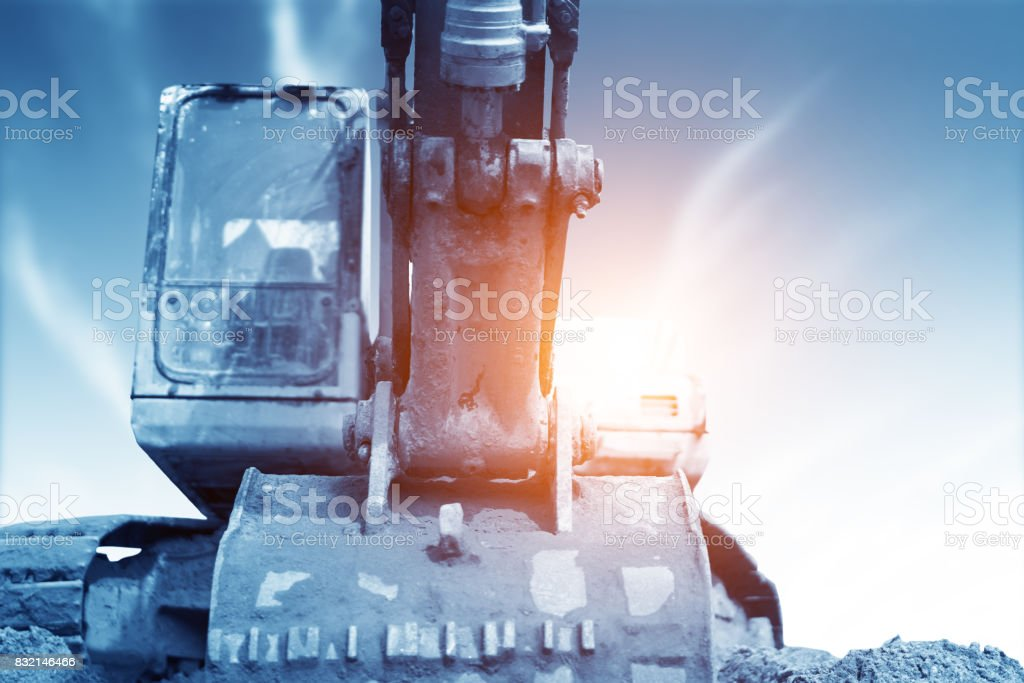 Close-up of a construction site excavator stock photo