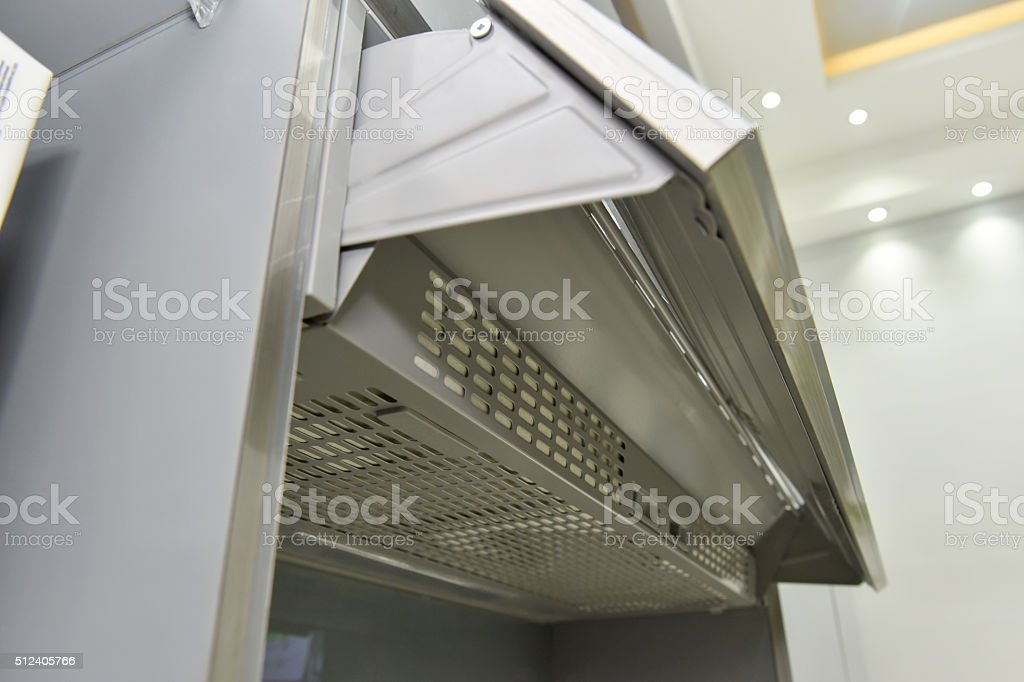 Closeup of a cooker hood extractor fan stock photo