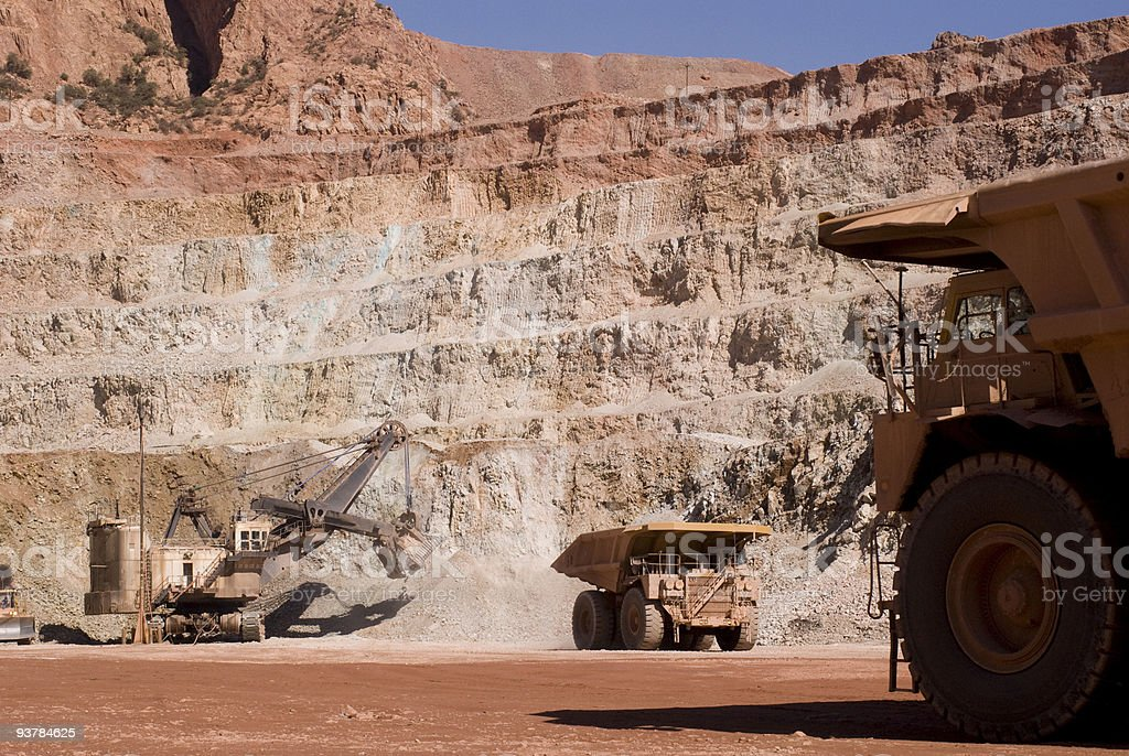 Close-up of a copper mine with digging and delivery tools stock photo