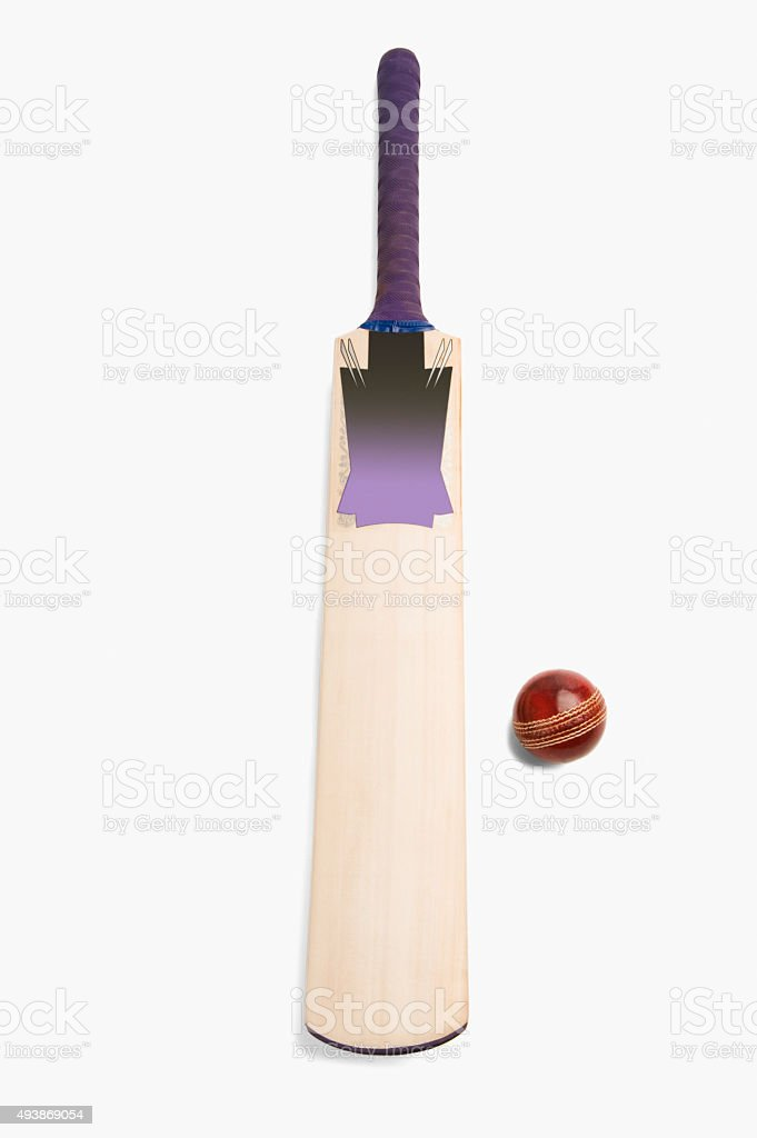 Close-up of a cricket ball with a bat stock photo