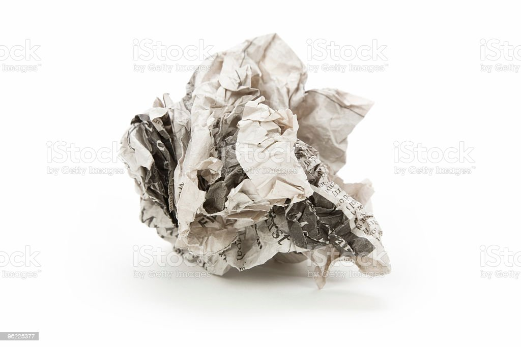 A closeup of a crumpled up piece of paper royalty-free stock photo