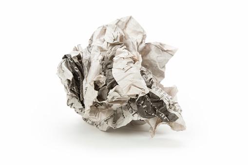 A closeup of a crumpled up piece of paper