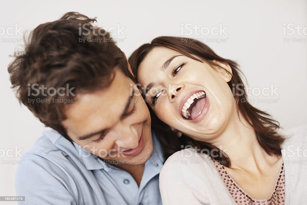 Closeup of a cute young caucasian couple  laughing royalty-free stock photo