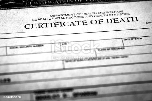 Closeup of a death certificate symbolizing peron who passed away